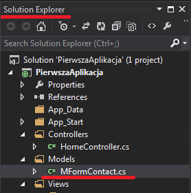9.5.1.2 Nowy model MFormContact w oknie Solution Explorer.
